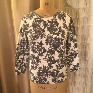 J crew sweatshirt black and white floral